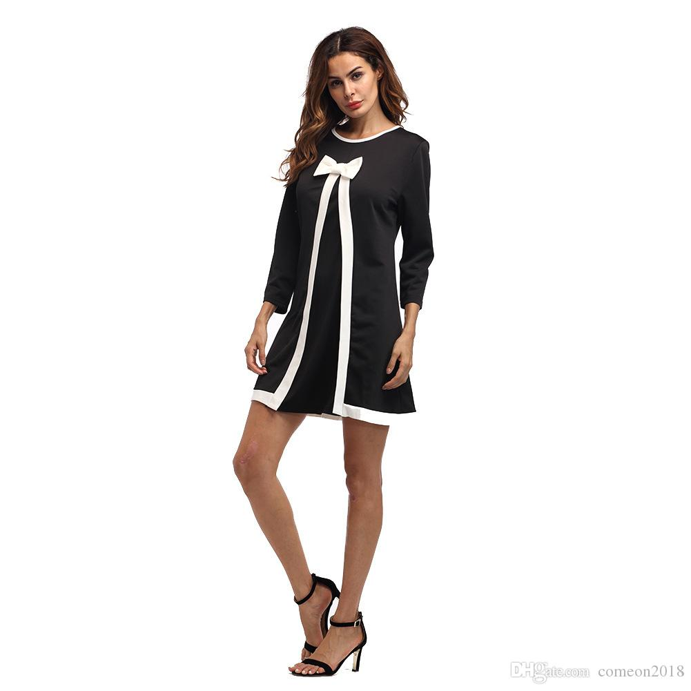 bac0a309a293a Designer Women Clothes A Line Bow Dress Women Sping 2019 Elegant Pleated  Ruched Vintage Long Sleeve Work Office Business Black Party Dress Party  Dress ...