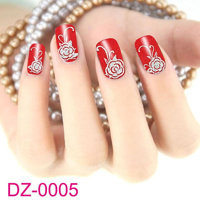 10 Sheets Fashion Red Flower Beauty Polish Items Nail Art Decals