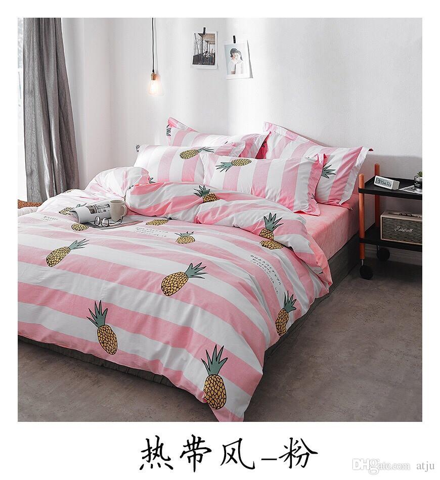 Großhandel Pineapple Blossom Fruit Bettwäsche Set Weiß Grün