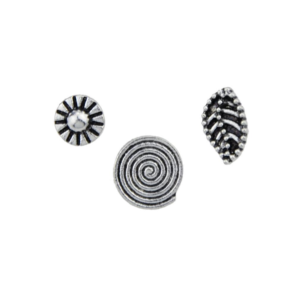 Kayshine / set Boho Chic Joyería Color Plata Antigua Con Roud Leaf Circle Hoop Sud Ear Cuff Clip Pendientes Para Las Mujeres