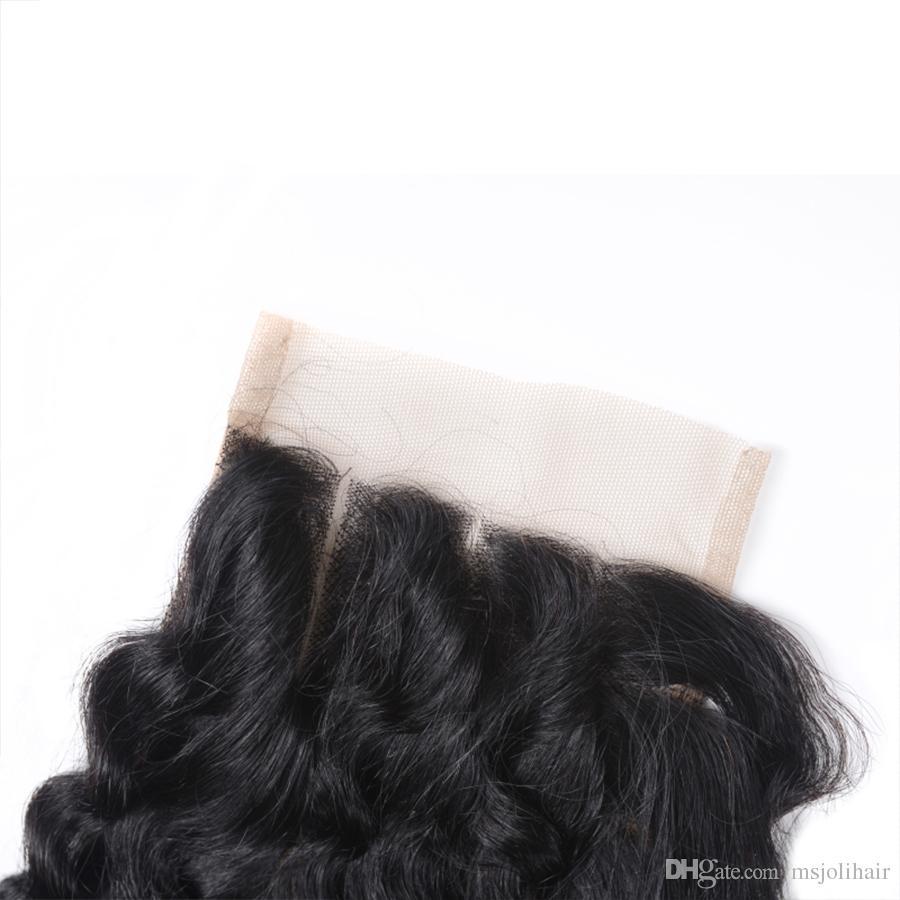 Capelli vergini malesi 4x4 chiusura pizzo tesse onda profonda colore naturale bellezza vendita calda capelli gratis / medio / tre parti 6-22 pollici