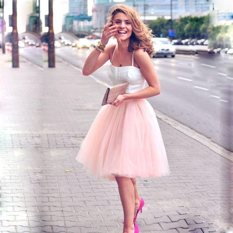 a71cecc908 Compre 5 Camadas 60 Cm Midi Tule Saia Princesa Das Mulheres Adulto Tutu  Moda Faldas Saia Femininas Estilo Jupe Verão Roupas Femininas De Wanglon08