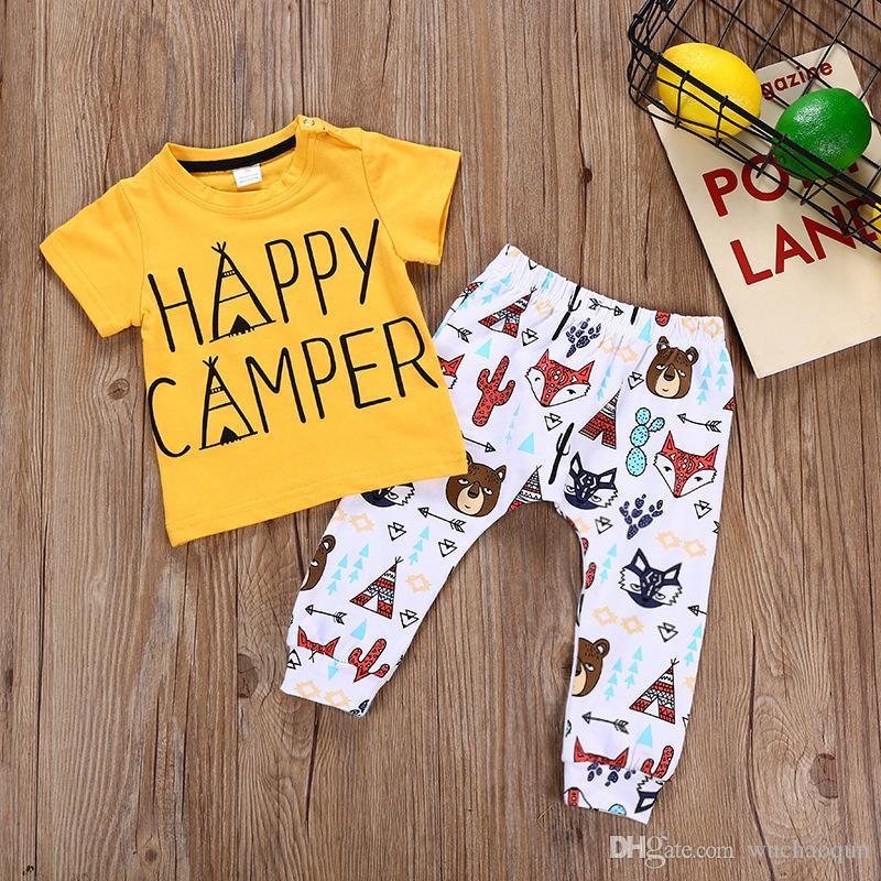 33eb06e44 2019 Newborn Baby Boys Animals Toddler Yellow T Shirt+Pants Set ...