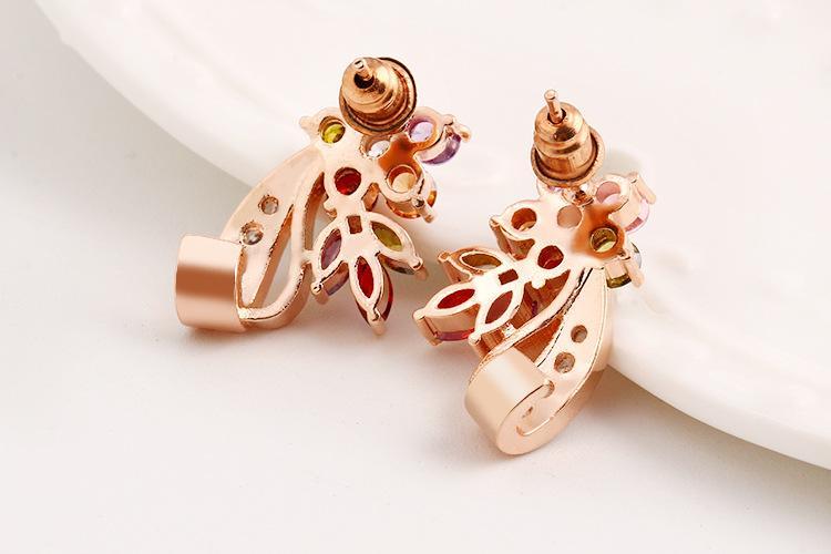 Swarovski elements colorful zircon crystal flower earrings dazzle colorful zircon earrings temperament phoenix jewelry 18k real gold