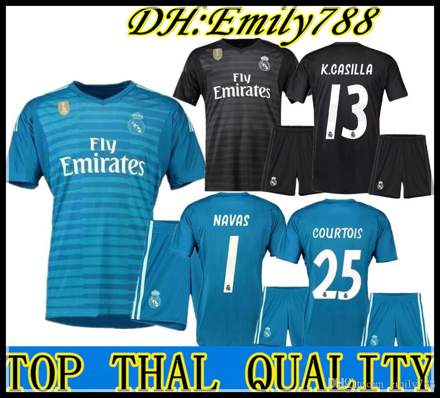 2d12666af 2019 2018 2019 Real Madrid Goalkeeper Jerseys 18 19 Keylor Navas Jersey  Camiseta De Futbol 25 Thibaut Courtois 1 Real Madrid BALE Maillot De Foot  From ...
