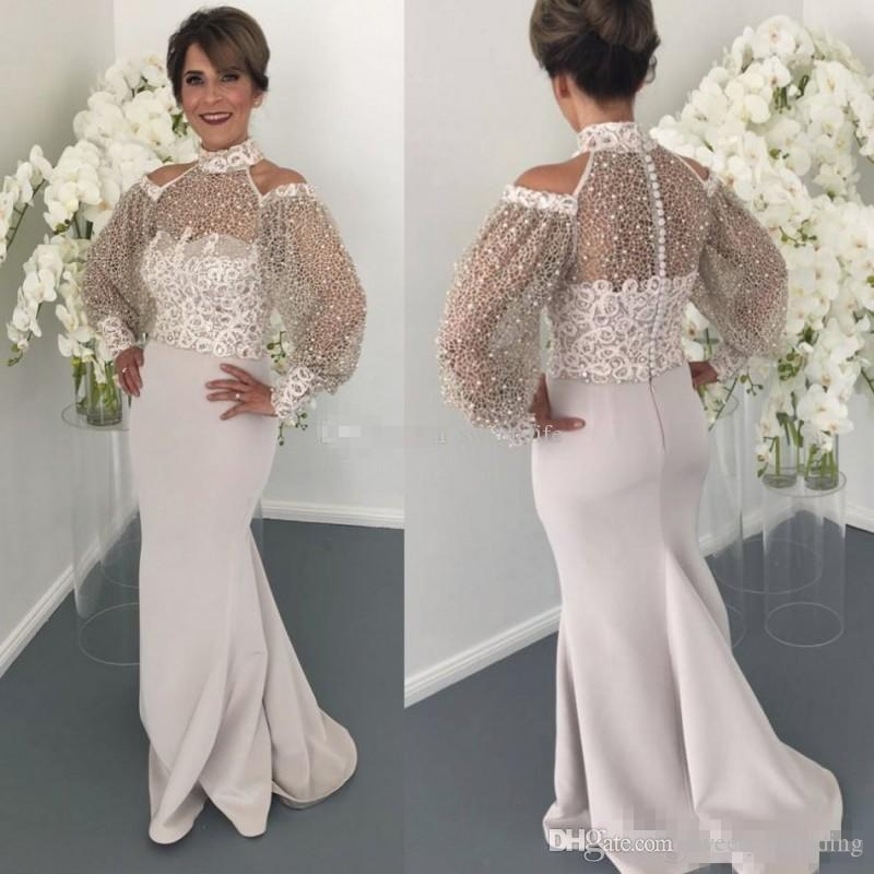 95ec321a38f 2018 Elegant High Neck Lace Mother Of The Bride Dresses Long Sleeve Beads  Mermaid Wedding Guest Dress Plus Size Formal Evening Gowns Mother Of The  Groom ...
