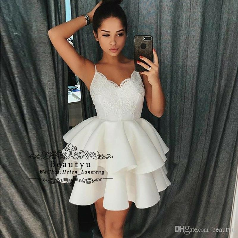 4e402549eeb White Short Homecoming Dresses Spaghetti Straps Tiered Skirt A Line Lace  Satin 2019 African Girls Prom Dress Cheap Cocktail Party Gowns Long Gowns  For Sale ...