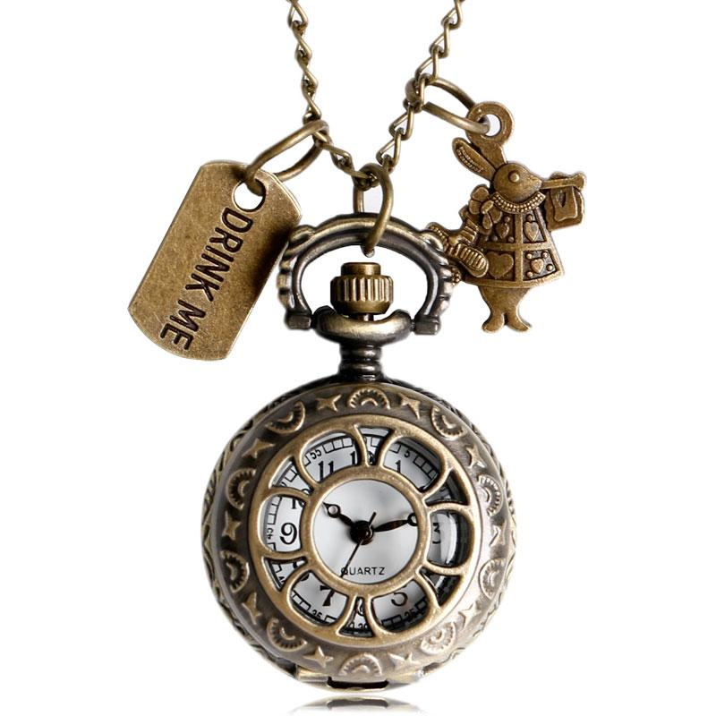 High Quality Quartz Pocket Watch Alice in Wonderland Drink Me Design Fob Watches With Necklace Chain Gift Free