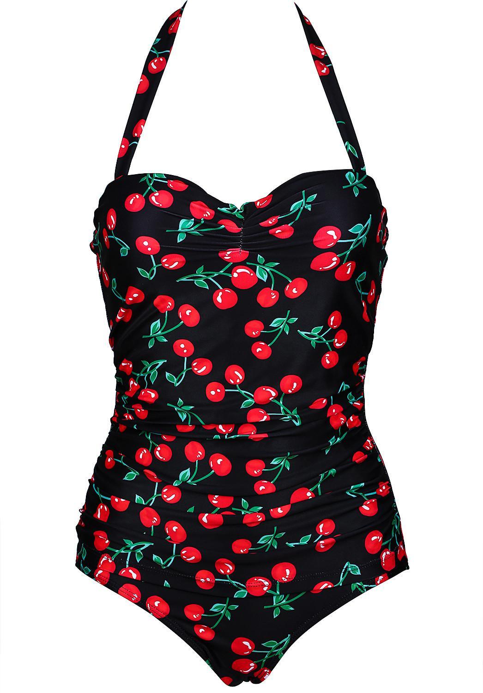 2e4cfa3a35129 2019 Elliehouse One Piece Swimsuit New Plus Size Swimwear Women Print Solid  Swimwear Vintage Retro Bathing Suits Monokini Swimsuit Wholesale From  Elliehouse ...