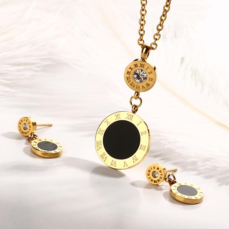 JOVO Fashion Double Round Shape Necklace & Earrings Jewelry Set Gold Color Roman Numeral Design Steel Jewelry Set for Women