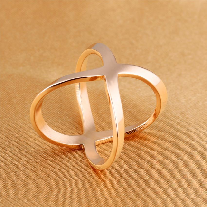 Rose Gold Color Fashion Cross X Hollow Out Design Finger Rings Titanium Steel Statement Jewelry Accessories Best Gift 495