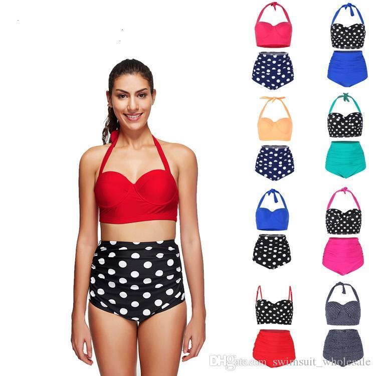 ffa0ab4dee7de 2019 High Waist Bikini Set Bandeau Push Up Tankini Bra Swimsuit Women S  Swimming Suit 2018 Swimwear Bather Print Bathing Suit From  Swimsuit wholesale