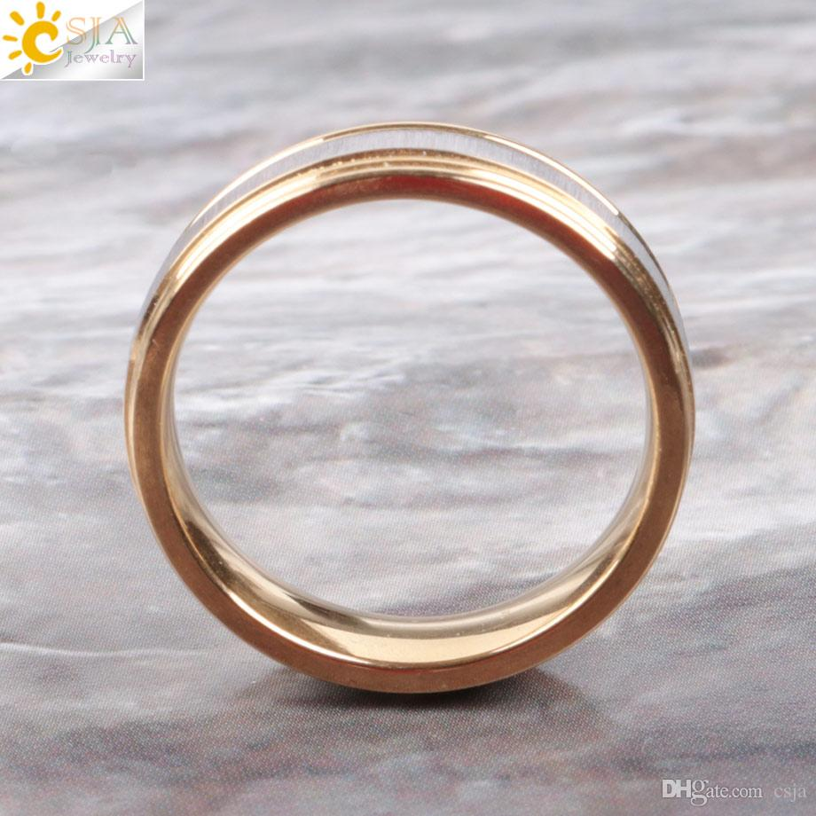 CSJA Unique Stainless Steel Gold Color Ring for Women Men Couple Engagement Wedding Polished Finger Ring Jewelry Lover Aniversary Gift E900