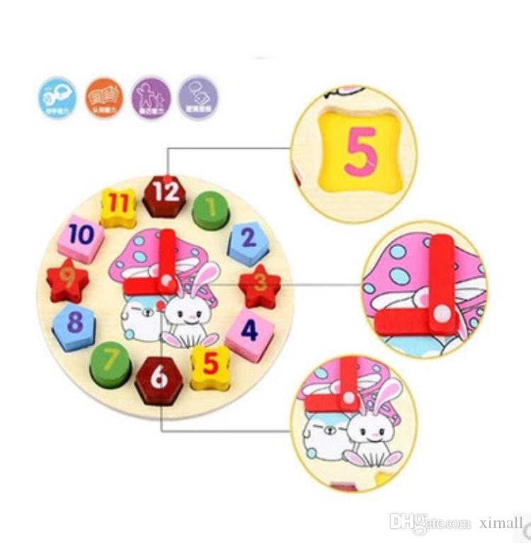 Wooden 12 Number Clock Toy Baby Digital clock building blocks puzzle toys Educational toys High Quality for Kids Children Christmas Gifts