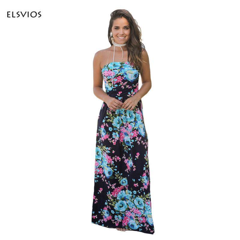 1372cf0923 2019 ELSVIOS Women Sexy Strapless Floor Length Dress Floral Printed Boho Dress  Ladies Waist Wrapped 2017 Summer Maxi Dress Vestidos Y1890704 From Tao02,  ...