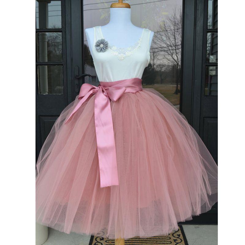 eac39cf42 6Layers 65cm Moda Falda de Tul Falda Tutu Plisada Para Mujer Lolita Enagua  Damas de Honor Falda Midi Vintage Jupe Saias faldas
