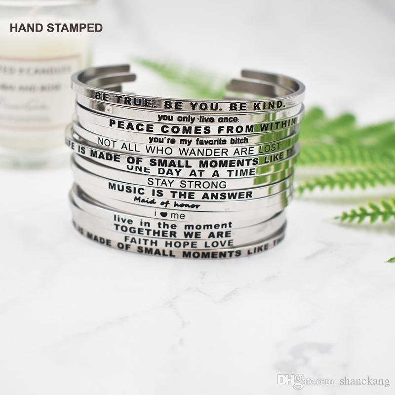 624d7f76d07 Custom Inspiration Messages Jewelry Yoga Jewelry Inspiration Bracelet  Stacking Inspiration Cuff Gift For Her Friendship Bracelets Charms From  Shanekang, ...