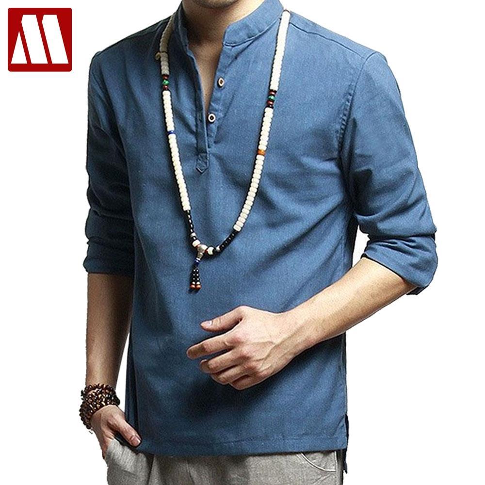 cf697b95a933 Moda asiatica mens pullover camicia per l'estate manica lunga camicia di lino  camicia senza colletto da uomo camisas manga comprida S-3XL F040
