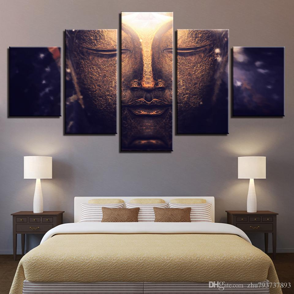 Wall Art Canvas Painting Framework 5 Panels The Buddha In Meditation Picture Modular HD Prints Poster For Living Room Home Decor