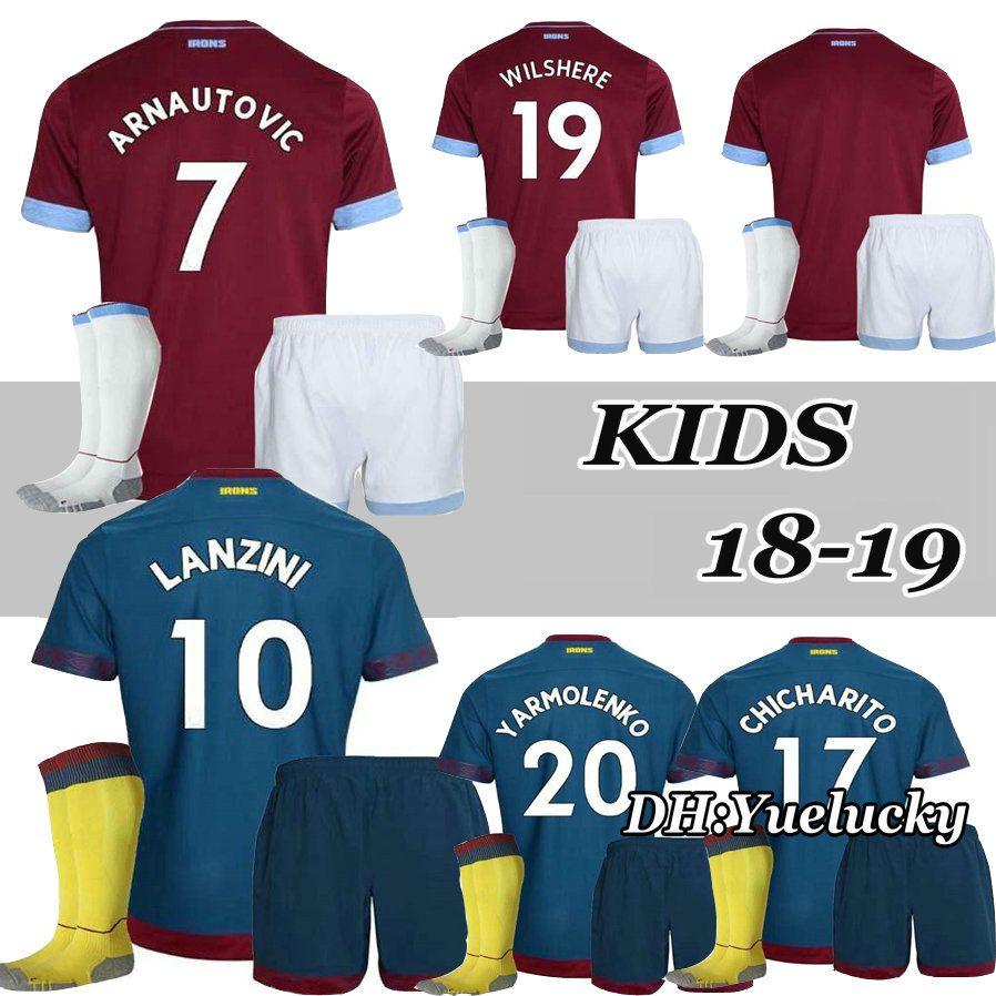 18 19 West Ham United Kid Kits Home Soccer Jersey ZABALETA ... c2be2ce9b