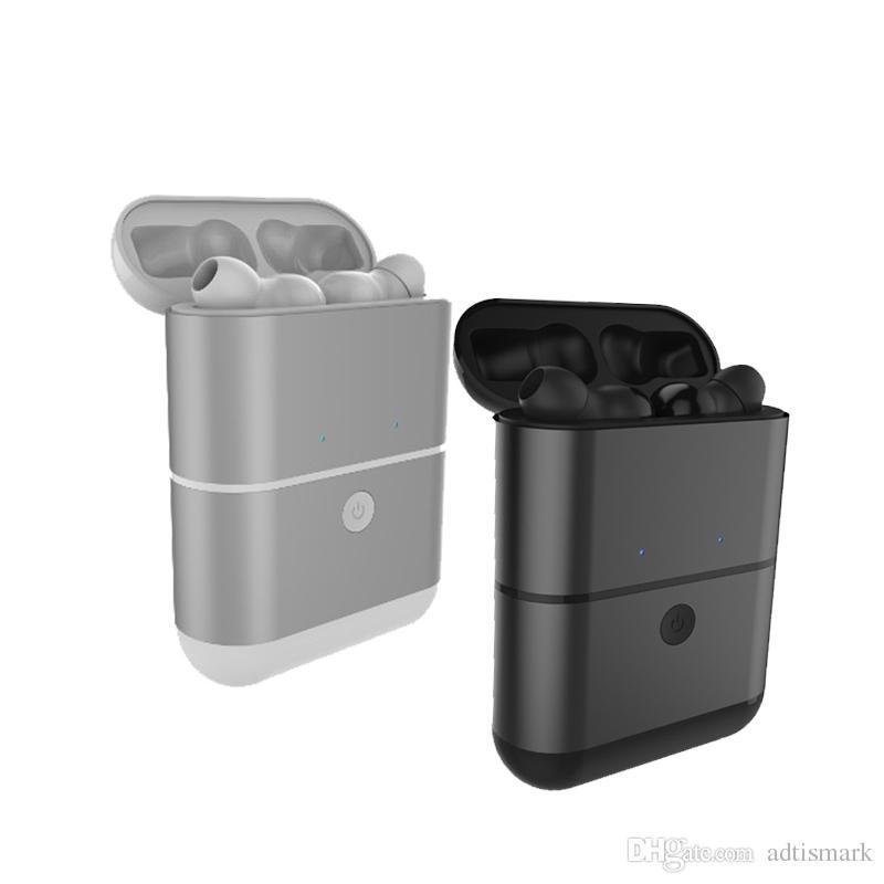 Neue Mini-Zwillinge drahtlose Bluetooth 4.2 Kopfhörer-Doppelohrhörer, die Kasten mit Mikrofon für iPhone Xiaomi Huawei Smartphone aufladen
