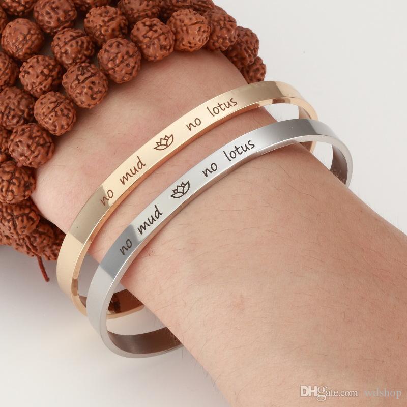 Edelstahl Nachricht Manschette Armreif graviert Lotus Blume Mode Armband für Frauen feine Partei Schmuck Geschenk Mix 3 Farben