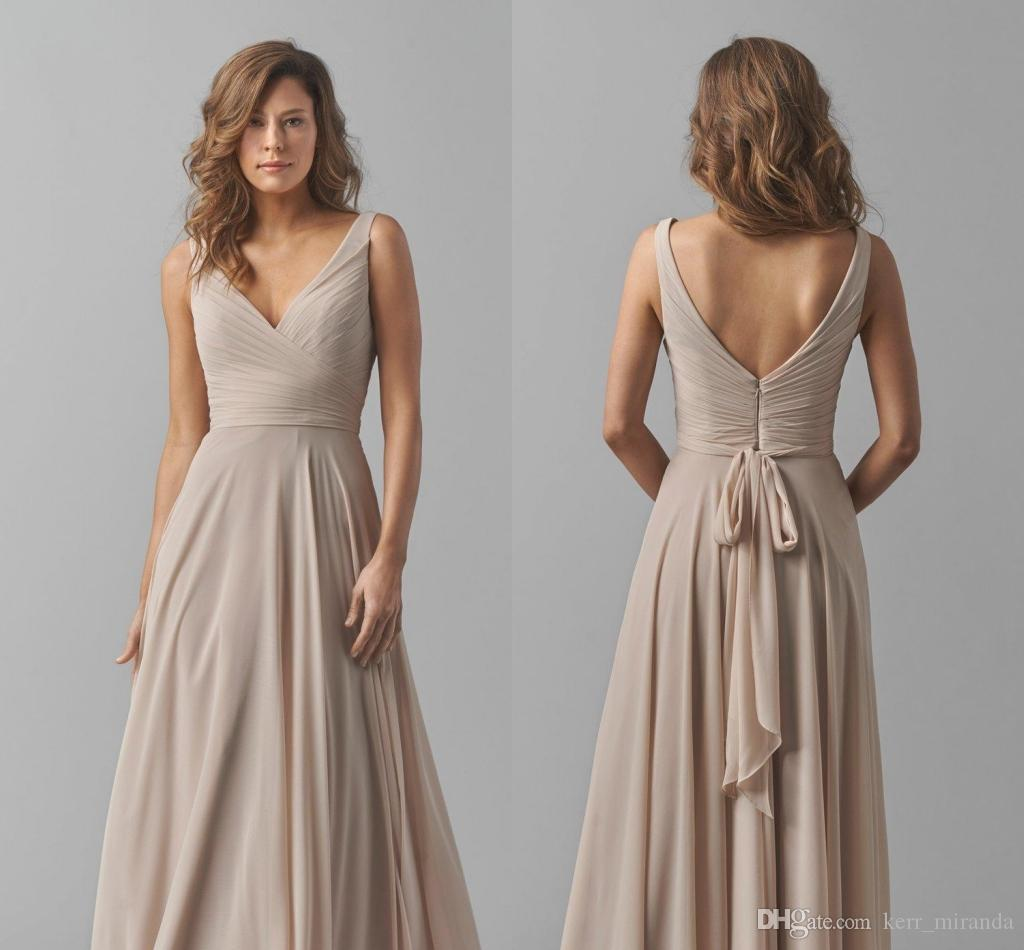 58a3c760712 Custom Made Plus Size Taupe A Line Princess V Neck Sleeveless Floor Length  Chiffon Bridesmaid Dress With Ruffle Wedding Party Dresses DH360 Junior ...
