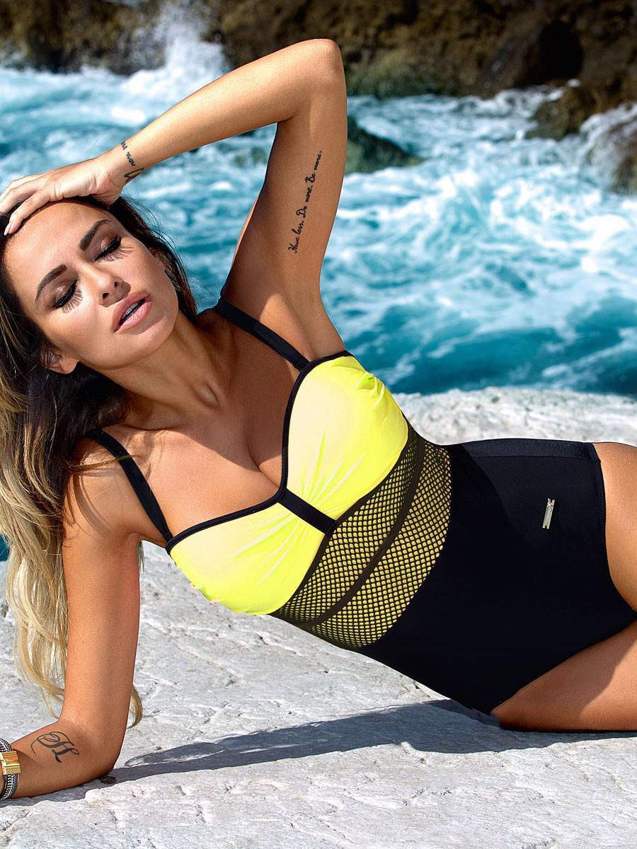 Women Sexy Mesh Swimwear Patchwork Bodysuit Bathing Suit Monokini Beach Swimming Suit clothes 2017 Newest One Piece Swimsuit