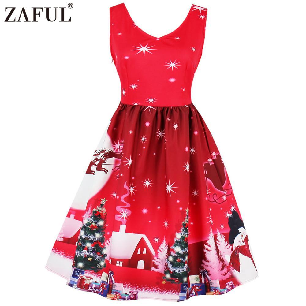 Acheter Zaful Femmes Plus La Taille De Noël Arbre Imprimer Vintage Robe V  Cou Sans Manches Taille Haute Swing Rétro Robe Partie Feminino Robes De   25.91 Du ... e94fec7872e