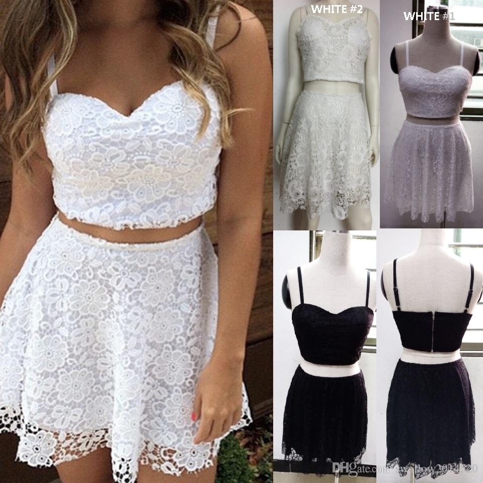 debaf1c04379 2019 Cute Women White Black Lace Dress Two Piece Summer Outfit Crop Top A  Line Mini Dress Elegant Evening Party Prom Dresses From Swallow2014520
