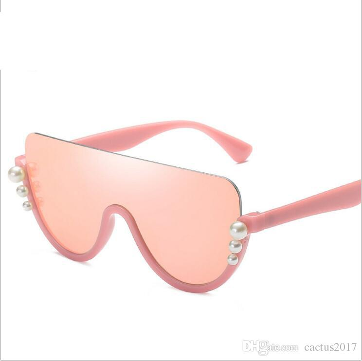 1b39bf9bf1 Luxury Pearl Half Rimless Sunglasses Women 2018 Fashion Big Frame Cat Eye  Sun Glasses For Women Oculos UV400 Cheap Prescription Sunglasses Oversized  ...