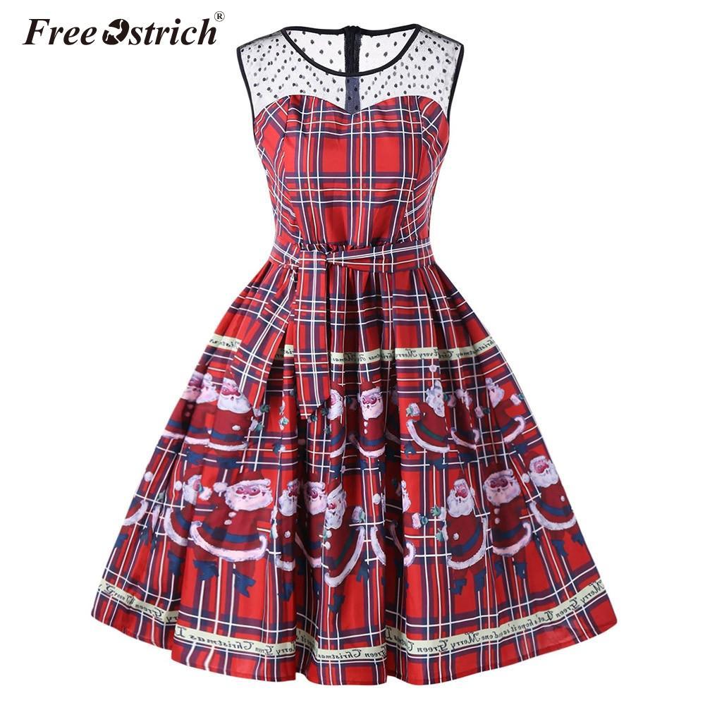 d98ae92f94f87 Free Ostrich Fashion Christmas Party Dresses Women 50s 60 Retro Vintage  Midi Dress Rockabilly Swing Robe Femme Vestidos N30