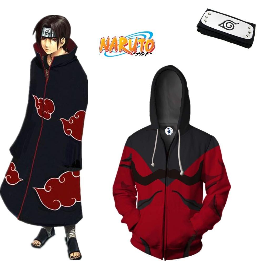 Compre Tamaño Asiático Japón Anime Naruto Akatsuki Hokage Manga Larga De  Halloween Cremallera 3D Traje De Cosplay Capa Suave Con Capucha Diadema A   23.23 ... af3e899f8ad