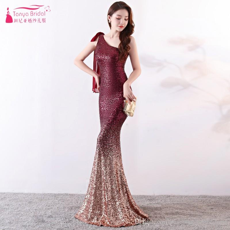 One Shoulder Mermaid Evening Dresses Sequined Outstanding Prom Gowns Maid  Of Honor Special Occasion Dress Real ZE077 Gorgeous Evening Dress Prom  Dress Prom ... 4dc9d009c4b9
