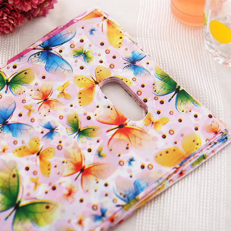 15x20cm Colorful Butterfly Plastic Gift Bag With Handles Small Jewelry Packaging Plastic Shopping Handle Pouches H023