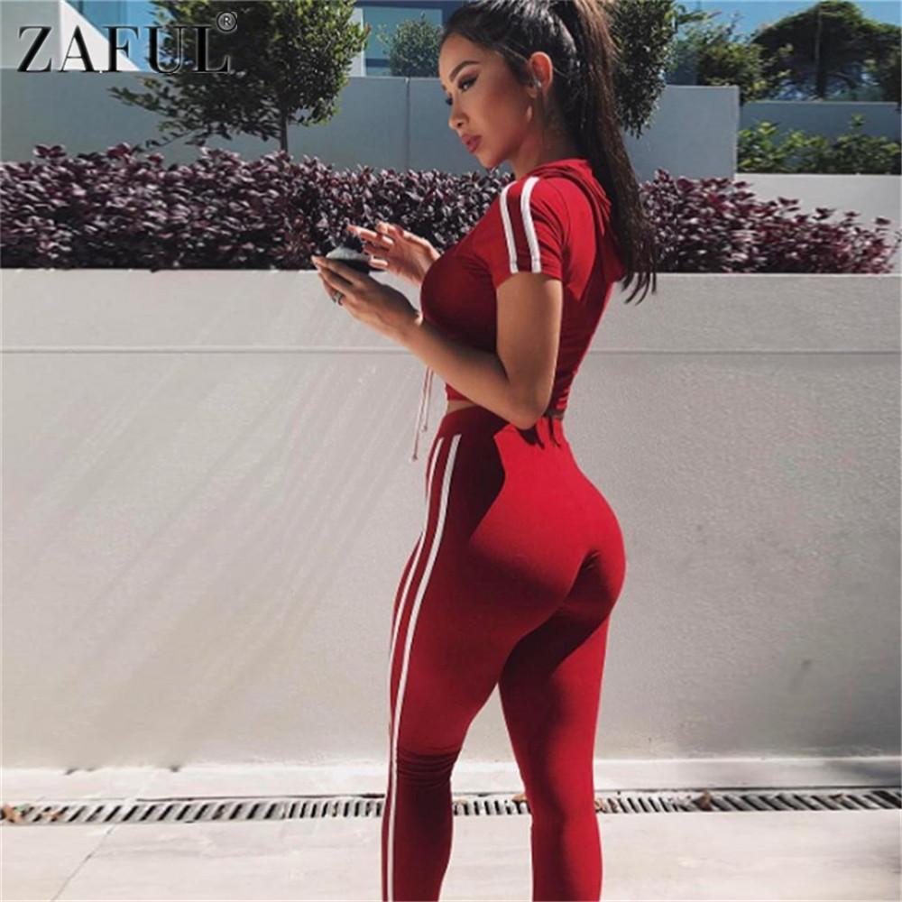 Compre ZAFUL Mujeres Fitness Yoga Set Gimnasio Deportes Correr Chándal Con  Capucha Jogging Dance Sport Traje Entrenamiento Ropa Camisetas Pantalones  Set A ... 2071bbb9047a