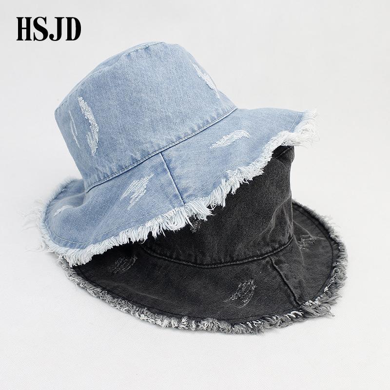 610bf2a5d334d3 2018 Summer Washed Denim Wide Brim Foldable Sun Hat Men Women Tassel Floppy  Cap Anti UV Beach Bucket Hats Female Hiking Cap Floppy Hat Kangol Hats From  ...