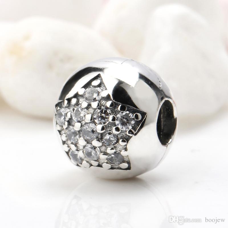Alta calidad 925 plata esterlina Shimmering Star encantos CZ esmalte flor perla Fit pulseras originales