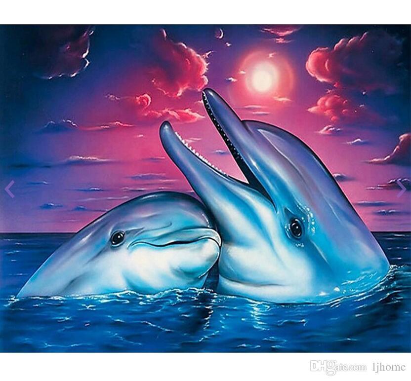 5D DIY Diamant Malerei Kreuzstich kit Voller Diamant stickerei delphin liebhaber runde Diamant mosaik bild home Dekorative