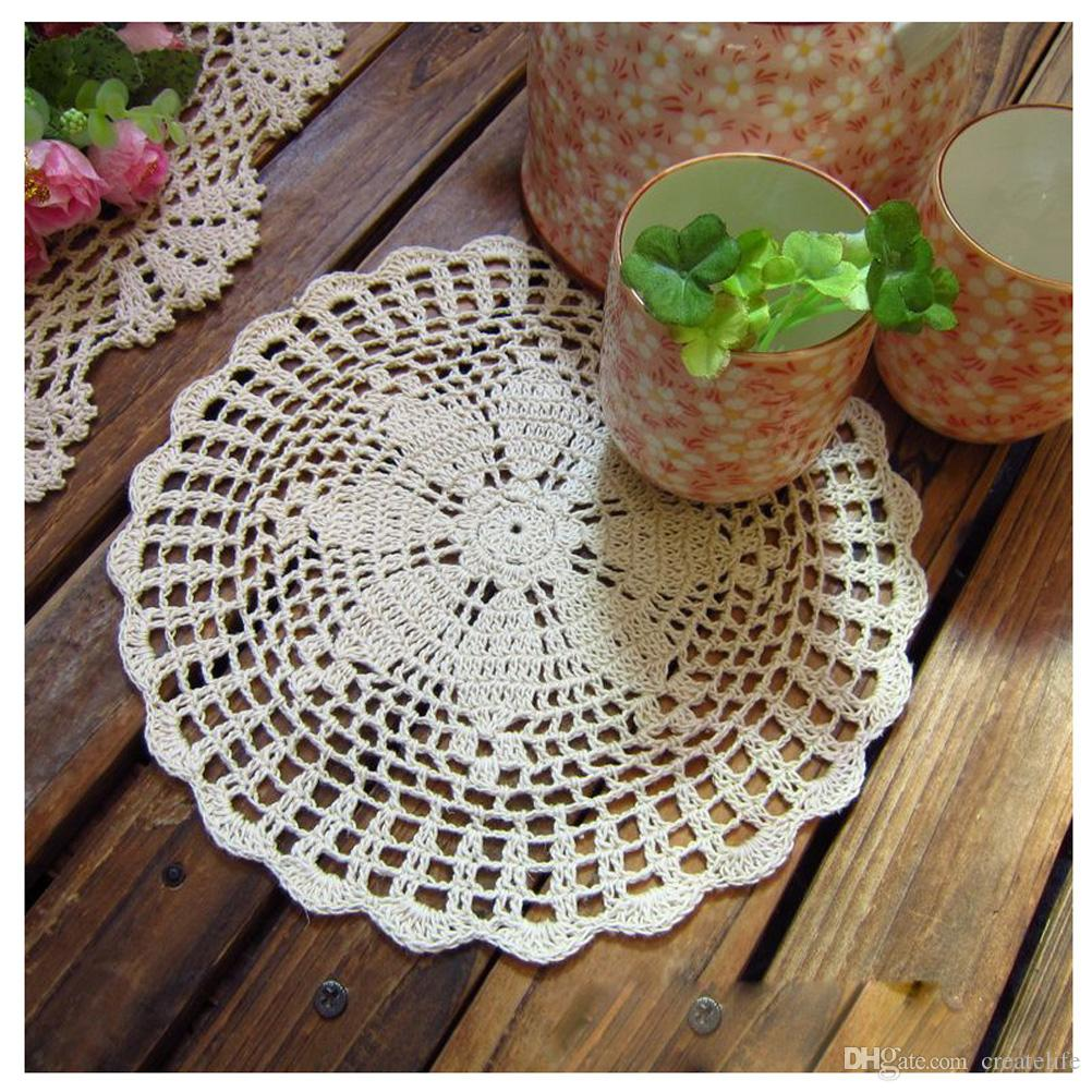 Handmade Round Crochet Cotton Lace Table Doilies Placemats Floral Coasters Home Coffee Shop Decorative Crafts, 23cm9.1""