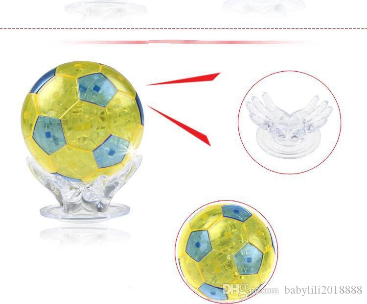 wholesales Puzzle toys building blocks 3D flash soccer crystal puzzles 3D stereoscopic crystal building blocks puzzle