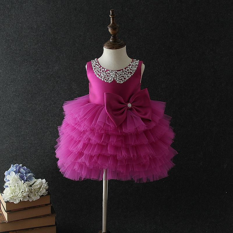 2018 Birthday Baby Girl Dresses Tutu Purple Wedding Princess ...