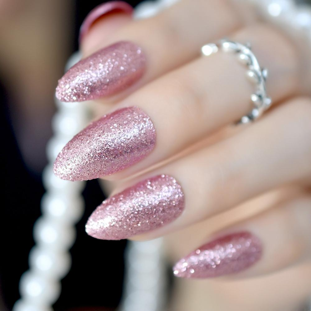 Gorgeous Rose Gold Almond Stiletto Fake Nails Pointed Bling Glitter ...