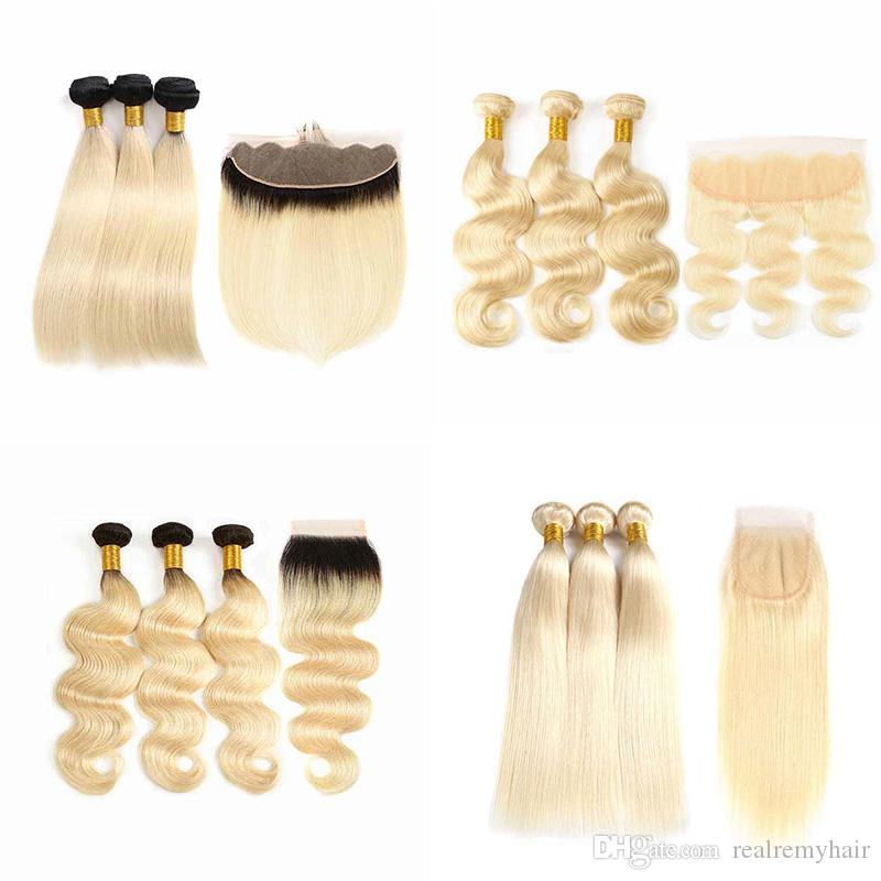 Westkiss Colored #27 Blonde Bundles With Closure Honey Blonde Body Wave Bundles With Closure Bleached Hair Remy Human Hair Weave Hair Extensions & Wigs Human Hair Weaves