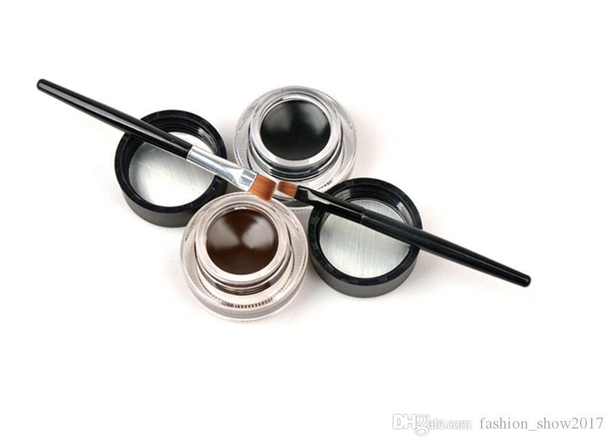 New Music Flower 2 in 1 Brown + Black Gel Eyeliner Make Up Waterproof and Smudgeproof Cosmetics Set Eye Liner Kit