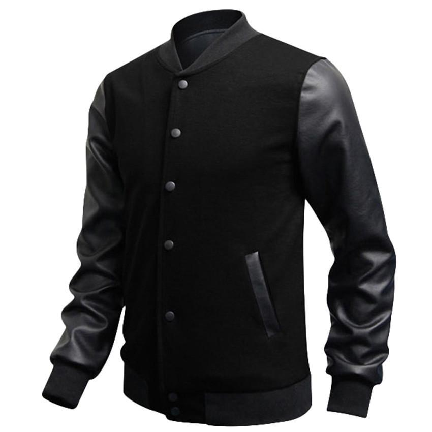 f4cdad0aa5e Wholesale Men Sweatshirt Slim Fit Casual Fashion Baseball Jackets PU  Leather Sleeve Jacket Men Bomber Jackets Clothing Jacket Top Nice Men  Jackets From ...