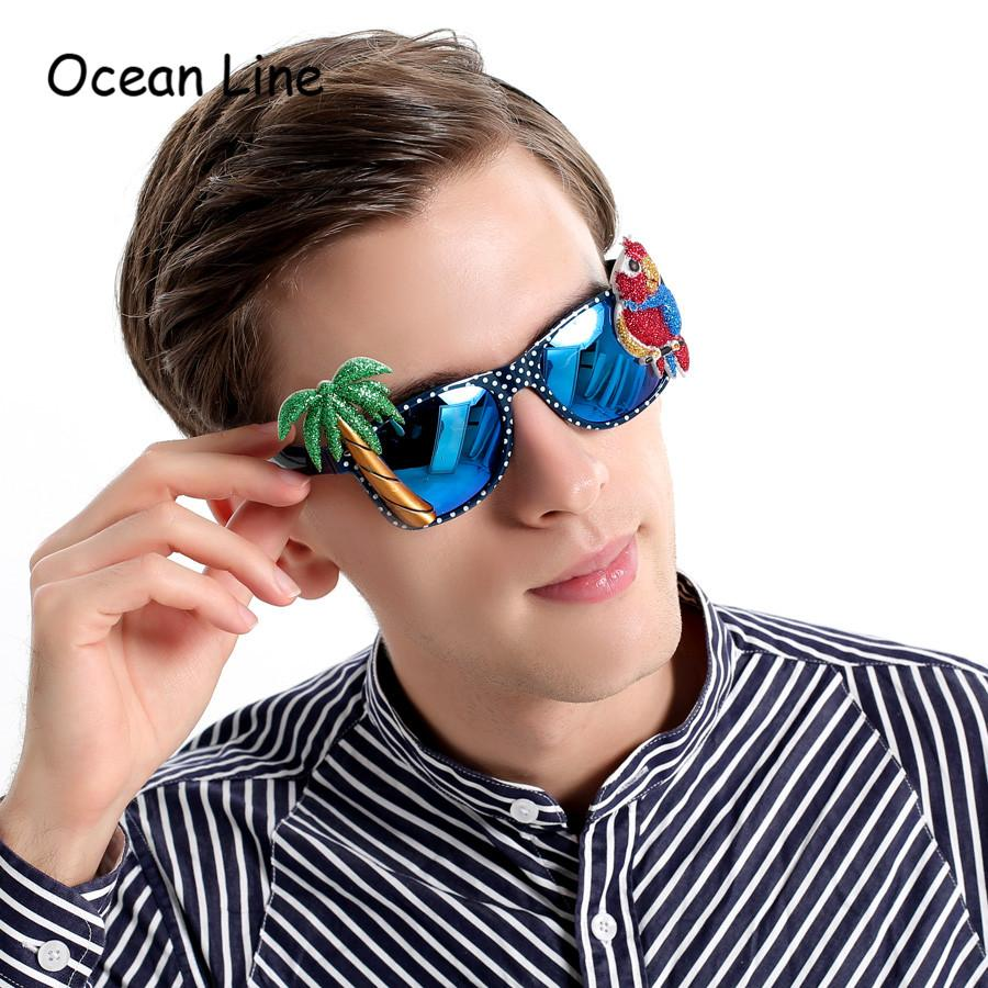 8159ee6db347 Funny Hawaiian Style Sunglasses Parrot Palm Tree Glasses Fancy Dress Event  Festive Accessories Beach Party Supplies Decoration Baseball Party Supplies  ...