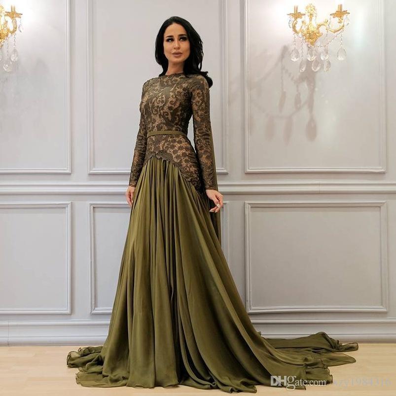 b67ed1acfc39 Saudi Arabia Chiffon Prom Dress Jewel Neck Lace Long Sleeves Party Dress  Fashion Trumpet Sweep Train Evening Dresses Cheap Formal Wear Gown Prom  Dresses Las ...