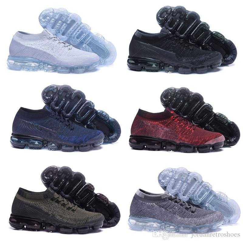Compre Alta Calidad 2018 Vapormax Hombres Mujeres Zapatillas De Running  Superficie Del Amortiguador Transpirable Línea De Mosca Zapatos Deportivos  ... 8972c1a529dc7