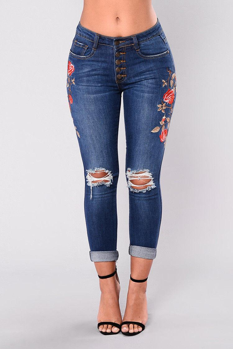 c8c498f90f3 New Fashion Women Ripped Rose Embroidered Skinny Denim Hole Jeans Ladies  High Waist Stretch Pants Womem Apparel UK 2019 From Qinfeng08